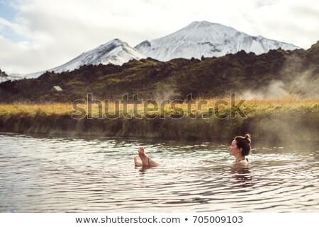 Termal banyo İzlanda manzara doğa göl taş Stok fotoğraf © prill