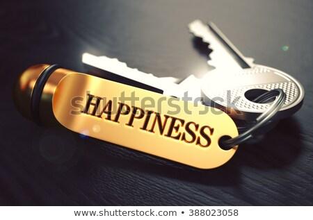 Keys to Happiness. Concept on Golden Keychain. Stock photo © tashatuvango