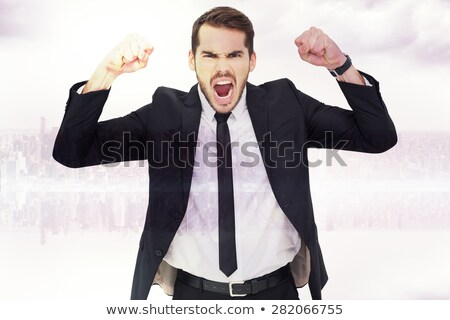 Composite image of furious businessman tensing arms muscle  Stock photo © wavebreak_media