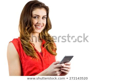 Joli brunette texte blanche heureux Photo stock © wavebreak_media