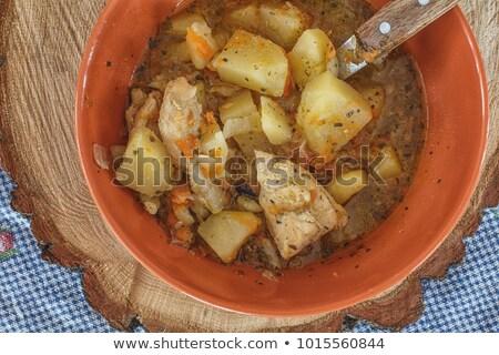 ローストチキン 野菜スープ クローズアップ プレート 表 セット ストックフォト © nito