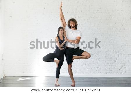 Fiatal nő gyakorol jóga partner stúdió felső Stock fotó © deandrobot