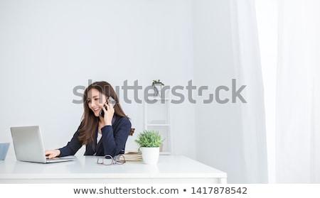 jonge · secretaris · asian · jurk · witte · zwarte · jurk - stockfoto © elwynn