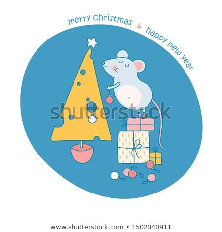 karácsony · egér · sajt · jókedv · tányér · ünnep - stock fotó © adrenalina