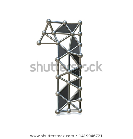 Metal lattice digit number ONE 1 3D Stock photo © djmilic