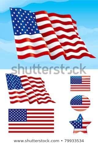 american flag waving in blue sky vector stock photo © -baks-