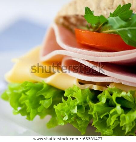jambon · domates · sandviç · taze · sağlıklı - stok fotoğraf © simply