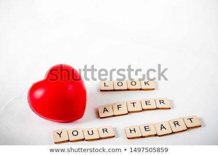szó · szeretet · piros · szív · 3D · 3d · render - stock fotó © 72soul