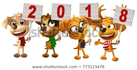 yellow dog symbol of year 2018 holds sign stock photo © orensila