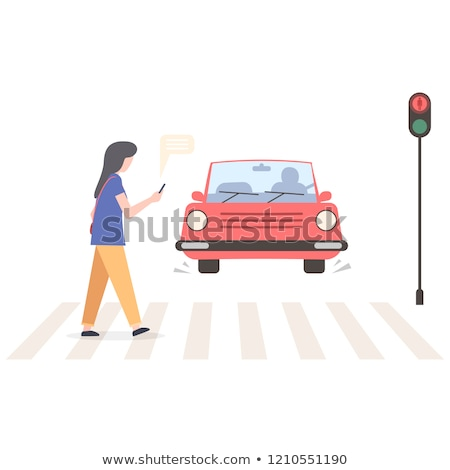 verbod · lopen · smartphone · voetganger · illustratie · weg - stockfoto © adrenalina