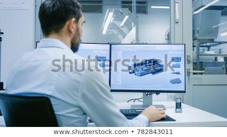 Munkás technikai rajz áll szerszám kéz Stock fotó © ra2studio