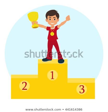 Gewinner Champion Tasse ersten Platz Goldmedaille Zeichen Stock foto © rogistok