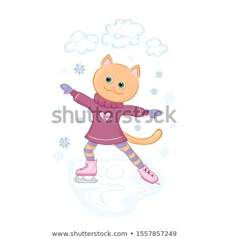 Rajz macska korcsolyázás illusztráció boldog tél Stock fotó © cthoman