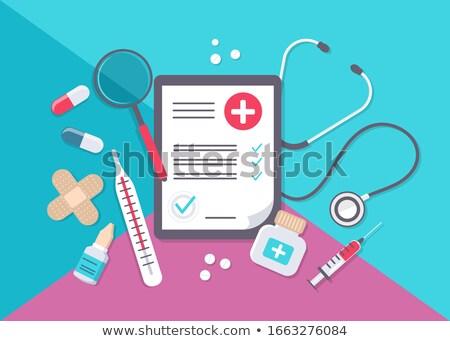 Ordonnance médicaux ensemble pilule guérison Photo stock © robuart