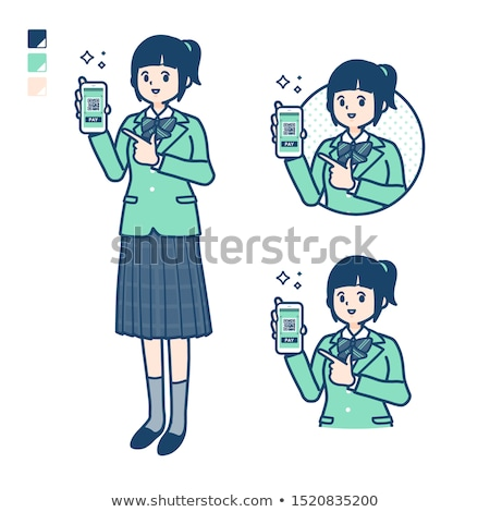 school girl Green Blazer money Stock photo © toyotoyo