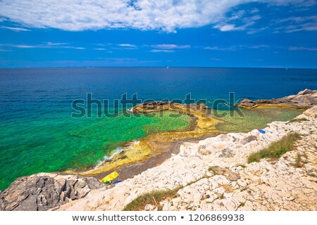 Zlatne Stijene famous stone beach in Pula view Stock photo © xbrchx