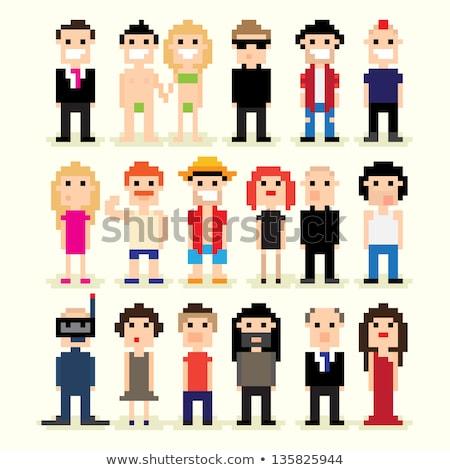 Pixel Characters I Love Art Vector Illustration Stock photo © robuart