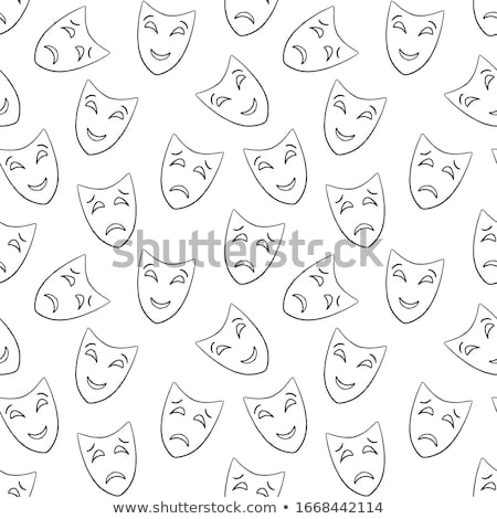 Masquerade mask simple black and white vector pattern. stock photo © yopixart