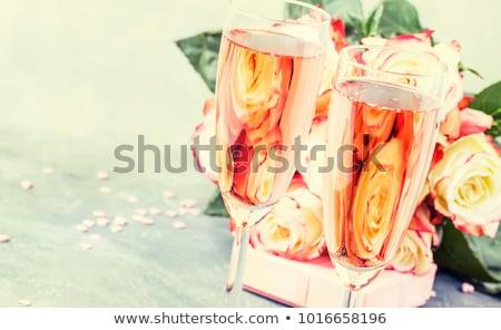 ストックフォト: エレガントな · バラ · ピンク · シャンパン · 眼鏡 · 泡