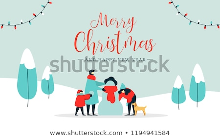 winter child with snowman family and trees vector stock photo © robuart