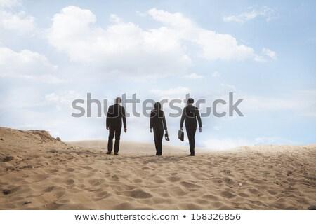 Hátsó nézet fiatal üzletasszony tart aktatáska sétál Stock fotó © feedough