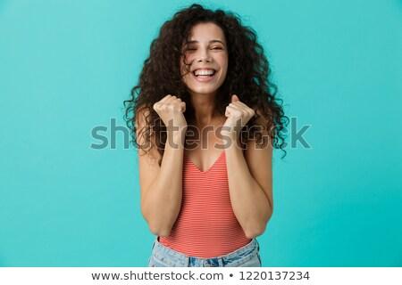 primer · plano · retrato · bastante · mujer · sonriente · elegante · de · punto - foto stock © deandrobot