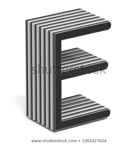 black and white layered font letter e 3d stock photo © djmilic