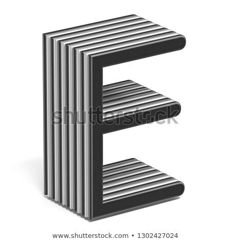 Black and white layered font Letter E 3D Stock photo © djmilic
