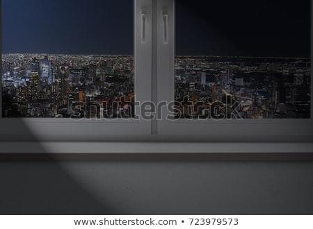Foto stock: Empresário · olhando · cityscape · escuro · quarto · vazio · em · pé
