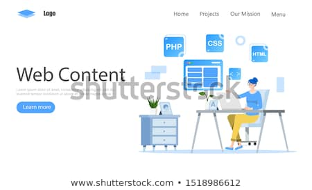 Stock photo: Business person sitting at desk with editorial concept