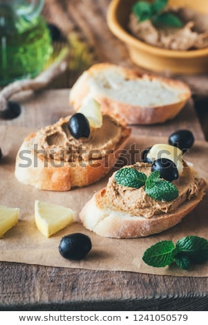 Sandwich with chicken liver pate and black olives Stock photo © Alex9500