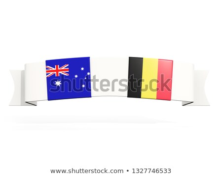 Banner twee vierkante vlaggen Australië België Stockfoto © MikhailMishchenko