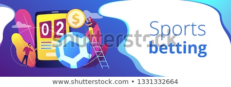 Sportok fogadás szalag fejléc pici emberek Stock fotó © RAStudio