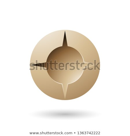 Beige and Bold Shaded Round Icon Vector Illustration Stock photo © cidepix