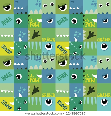Blue and Green Square with Spikes Vector Illustration Stock photo © cidepix