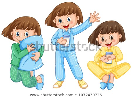 Happy Girl on Diffrent Pajamas Stock photo © colematt