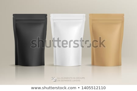 Tea Package, White Paper Bag 3D Vector Mockup Stock fotó © pikepicture