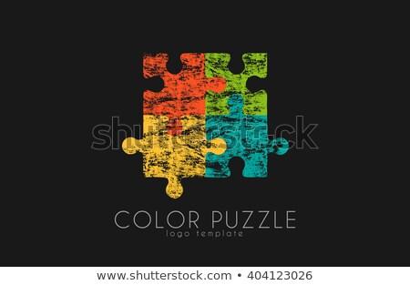 colorido · brillante · rompecabezas · gris · independiente · piezas - foto stock © ratkom