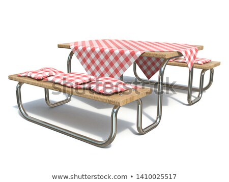 wooden picnic table with red table cover and pillows 3d stock photo © djmilic