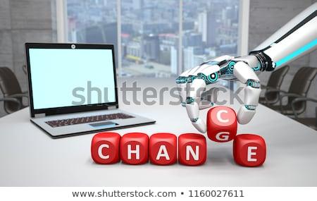 ноутбук робота рук шанс изменений гуманоид Сток-фото © limbi007