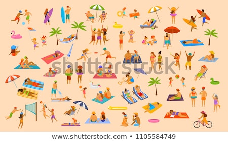 couple playing ball in sea summer vacation vector stock photo © robuart
