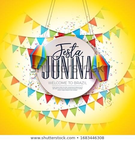 festa junina illustration with party flags colorful confetti and typography letter on yellow backgr stock photo © articular