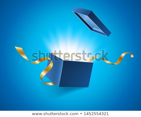 Blue opened 3d realistic gift box with golden ribbons flying off cover and place for your text, real Stock photo © MarySan