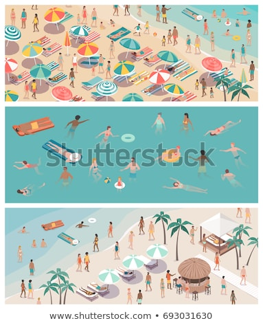 Summer People Relaxing by Seaside, Water Fun Set Stock photo © robuart
