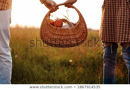 Couple in love drink a orange juice on summer picnic, leisure, h Stock photo © Freedomz