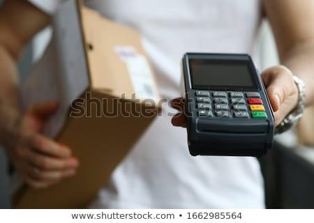 支払い 携帯 電話 ショッピング 青 銀行 ストックフォト © ra2studio