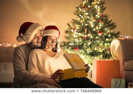 jonge · gelukkig · paar · vrolijk · christmas · meisje - stockfoto © ijeab