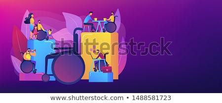 Social adaptation of disabled people concept banner header Stock photo © RAStudio