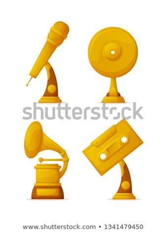 Złota trofeum kubek mikrofon winylu dysku Zdjęcia stock © robuart