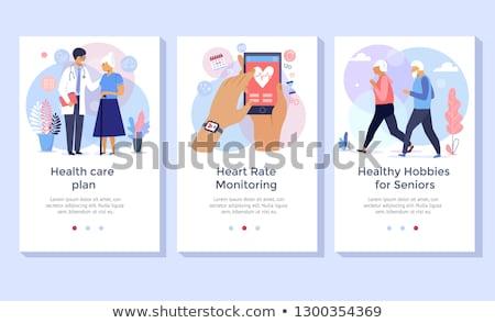Idősebb fitnessz egészséges életmód kopott nő képzés Stock fotó © RAStudio